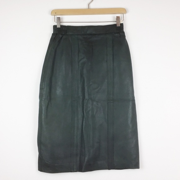 Vintage Dresses & Skirts - Vintage high waisted dark green leather skirt